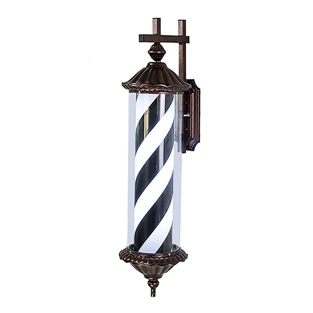 バーバーポールサインLed、回転サロンサイン屋外防水セーブエネルギーウォールマウント型70cm / 28in、ブラックホワイト B07SB1BYM7