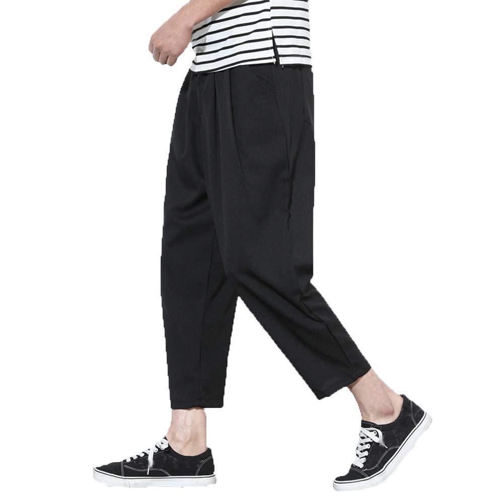 Creazrise Mens Casual Elastic Waist Solid Linen Capri Wide Leg Baggy Harem Pants Loose Trousers (Gray,M)