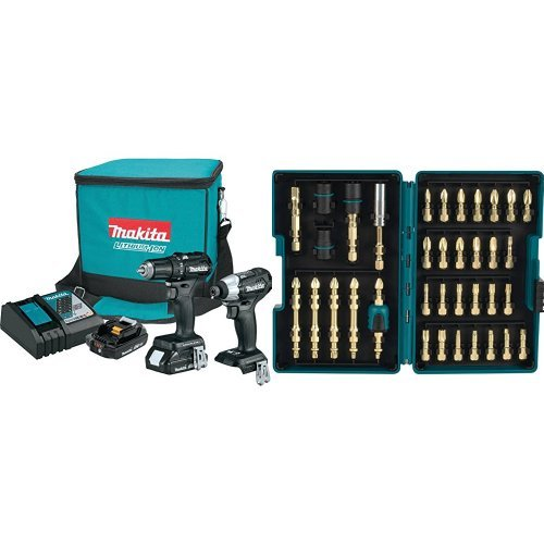 Sub Compact Driver Kit (Makita CX200RB 18V LXT Lithium-Ion Sub-Compact Brushless Cordless 2-Pc. Combo Kit (2.0Ah) with Impact Gold Torsion Bit Set (38 Piece))