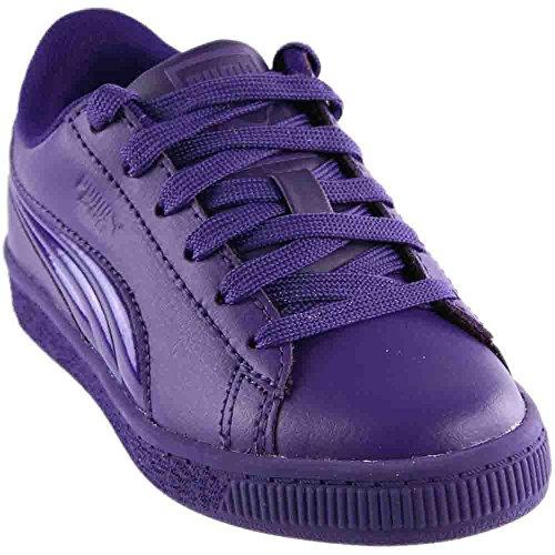 Purple Suede Kids Shoes - PUMA Unisex-Kids Basket Classic 3D FS Sneaker, Violet Indigo-Violet Indigo, 13 M US Little Kid