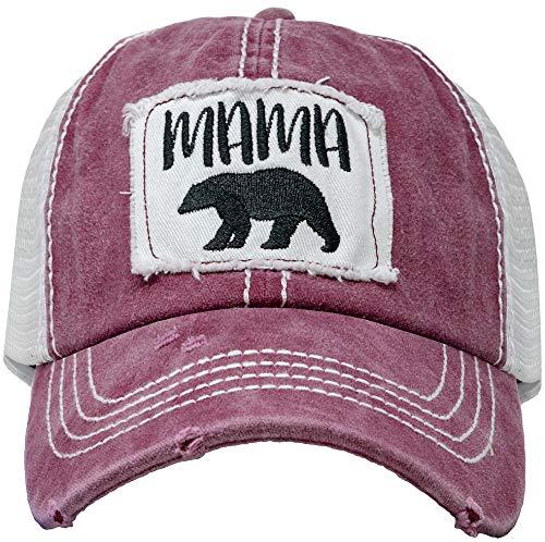 Bear Mesh - BH-200-MB64 Patch Mesh Baseball Hat - Mama Bear - Burgundy
