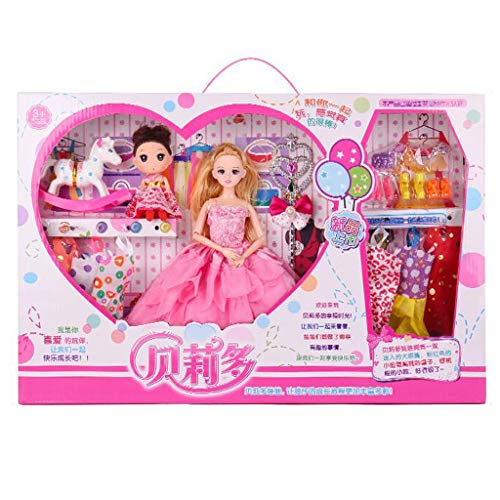 Huangyingui Fashion Girl Doll Fashion Clothes Dresses Doll Play House Girl Babi Wedding Doll Toy Gift Box Set ( Color : B )