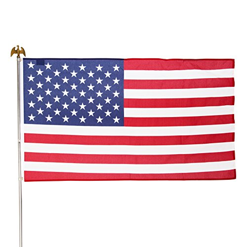Valley Forge Flag US1-1 Residential Kit w/ 3' x 5' US Flag, Pole, red, White & Blue, Steel Bracket (American Kit Flag)