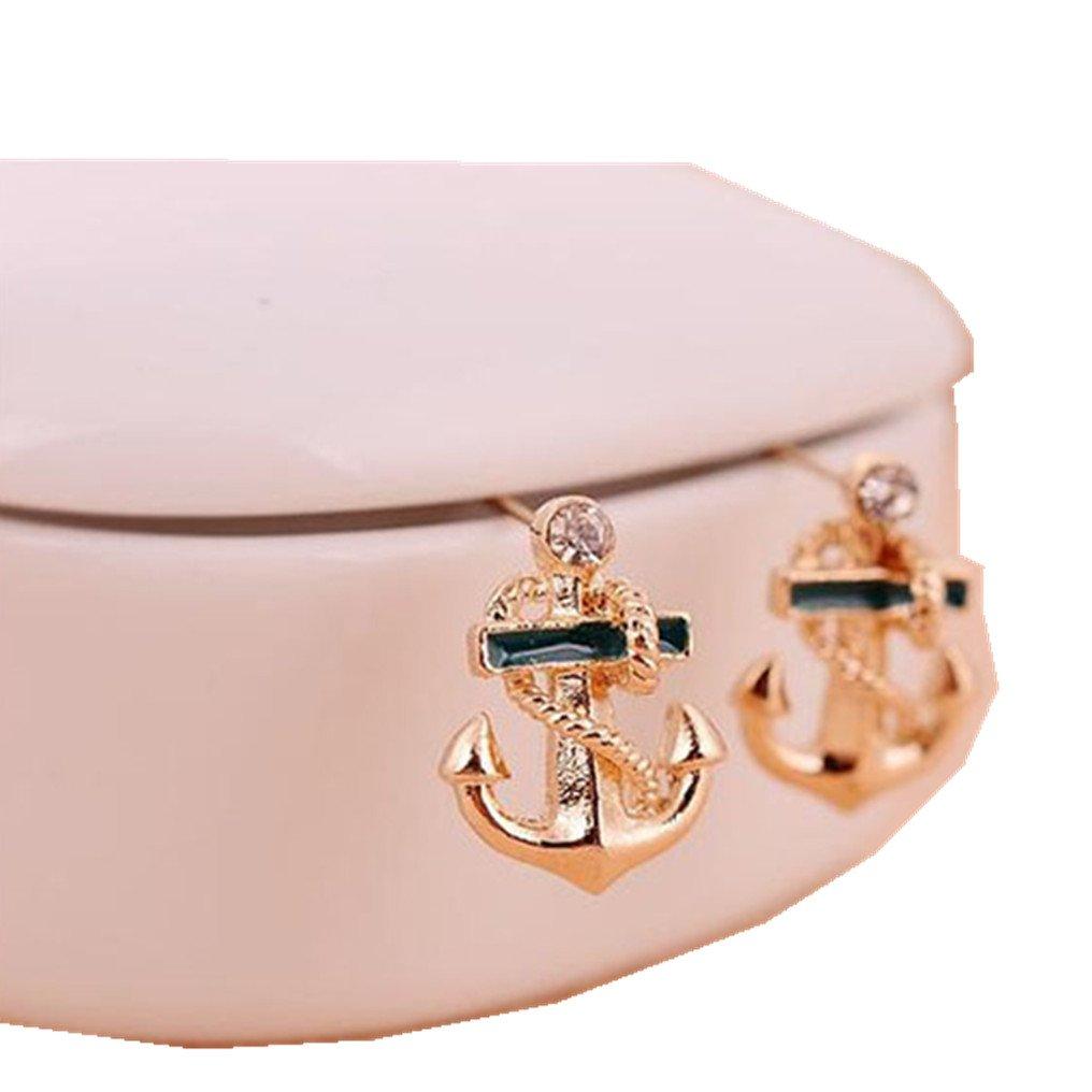 Minshao Women Fashion Crystal Rhinestone Sailor Anchor Ear Stud Earrings Gift