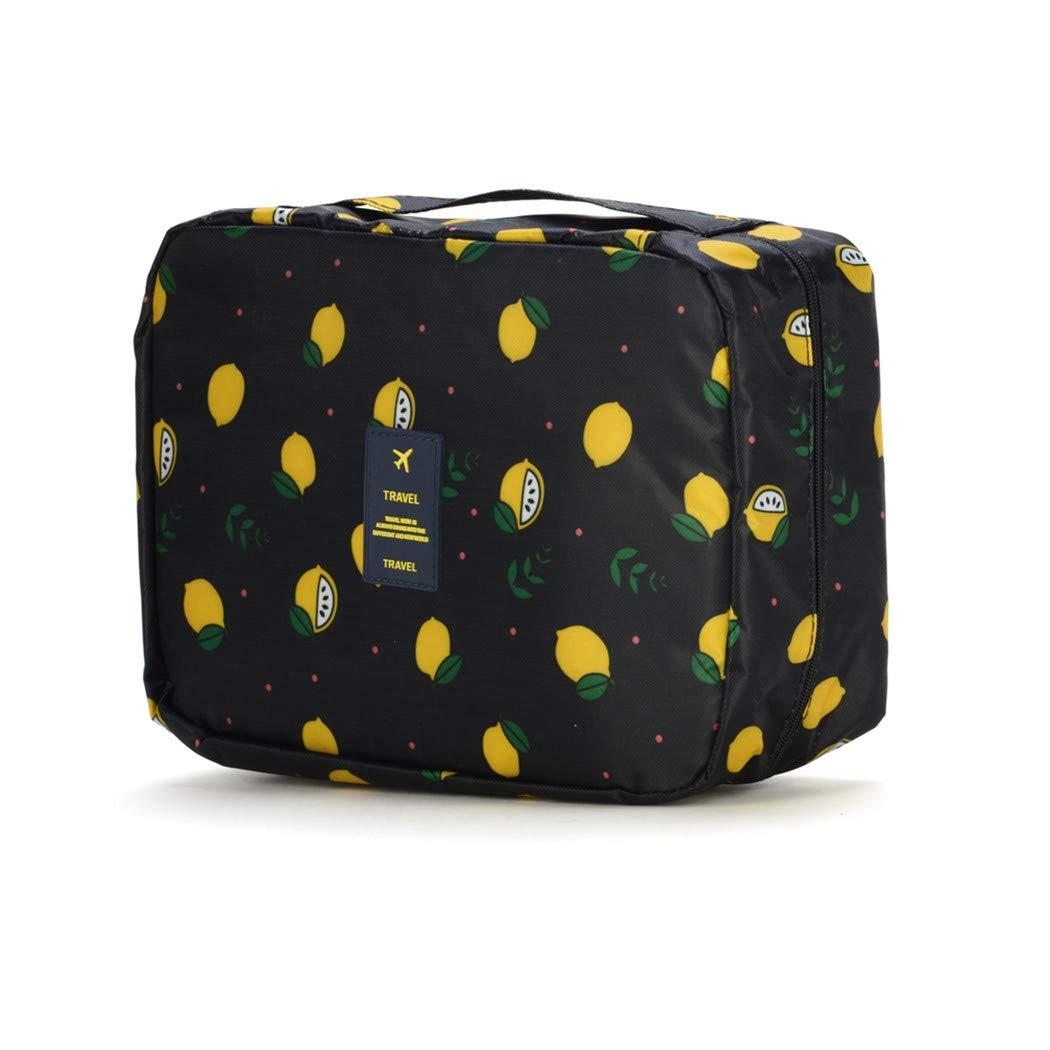 Travel Toiletry Makeup Waterproof Wash Bag for Cosmetics and Grooming Kit -Navy Black Lemon
