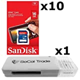10 PACK - SanDisk 16GB SD HC Class 4 Secure Digital High Speed SDHC Flash Memory Card SDSDB-016G 16G 16 GB GIGS (S.B16.RTx10.562) LOT OF 10 - Retail Packaging