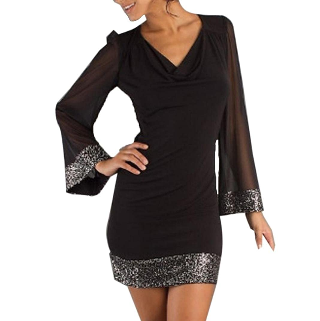 FUNIC Women\'s Summer Casual V-Neck Sequined Long Sleeve Stitching Mini Dress