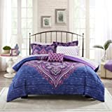 Mainstays Grace Medallion Purple Bed in a Bag Complete Bedding Set