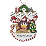 Fireplace Mantle with Stockings to Personalize Christmas Ornament (Family of 5) - Calliope Designs - 5.5'' Tall - Free Customization