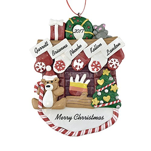 Mantle Ornament (Fireplace Mantle with Stockings to Personalize Christmas Ornament (Family of 5) - Calliope Designs - 5.5