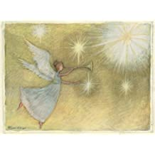 Perfect Timing-Artisan Golden Angel Classic Christmas Card, 4.5 X 6-Inch, 12 Cards and 13 Envelopes (2004012)