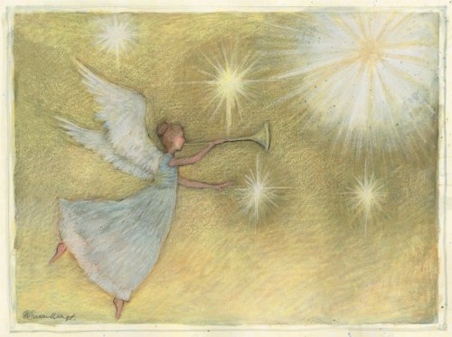 LANG ''Golden Angel'', Classic Christmas Cards, Artwork by Susan Winget'' - 12 cards, 13 envelopes - 4.5'' x 6'' by LANG