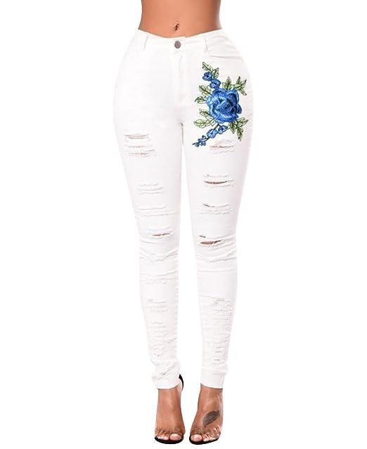 ISSHE Pantalones Vaqueros Cintura Alta Mujer Jeans Rotos ...