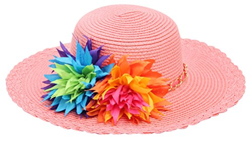 Candy Pink Sun Hat - Bienvenu Kids Girls Multi-Colors Large Brim Flower Beach Straw Sun Hats,Pink