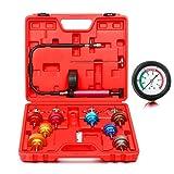 8milelake 14pc Radiator Pump Pressure Leak Tester Checker Kit Aluminum Adapters w/ Case