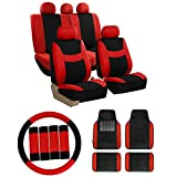 FH GROUP FH-FB030115 Combo Set: Light & Breezy Cloth Seat Covers (Airbag & Split Ready) W. FH2033 + F14407 Carpet Floor Mats Red / Black Color