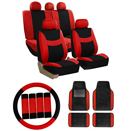 FH GROUP FH-FB030115 Combo Set: Light & Breezy Cloth Seat Cover Set W. FH2033 + F11300BLACK Floor mats, Red / Black- Fit Most Car, Truck, Suv, or Van (Combo Covers Seat)