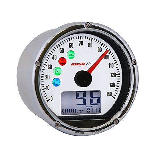 Koso BA035160-HD Chrome/White Speedometer (Harley Davidson Version)