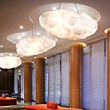 Pendant lights Floating Cloud Droplight White Clouds Hanging Light Modern Cotton Fixture Home Indoor Lighting E27 Lamp AC90-260V (Color : Warm Light, Size : 60cm)
