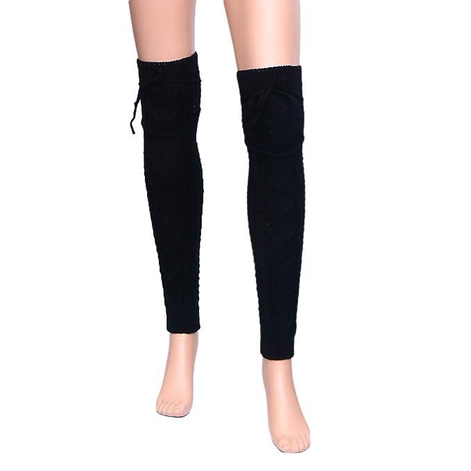 BESTOYARD Calentadores de pierna calcetines grueso invierno para mujeres (Negro)
