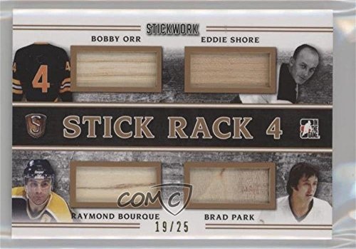 - Bobby Orr; Eddie Shore; Ray Bourque; Brad Park #19/25 (Hockey Card) 2017 Leaf In the Game Stickwork - Stick Rack 4 - Bronze #SR-02