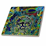 3dRose Trippy Colors Fire Skull Goth Fantasy Abstract Digital Art - Ceramic Tile, 6-Inch (ct_116258_2)