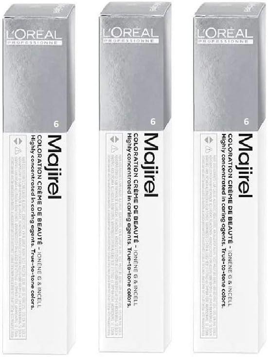 3 tubos de tinte para el cabello Majirel de Loreal de color rubio oscuro 6