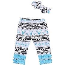 Infant Newborn Baby Girl Deer Ruffle Long Pants+Headband Leggings Outfit Set