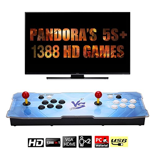 1388 HD Arcade GamesReal Pandora's Box 5S plus 2 Players Joystick Arcade Console with 1388 Retro Games Double Arcade Joystick Built-in Speaker Double Arcade Joystick Built-in Speaker