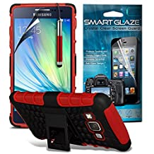 ( Red ) Samsung Galaxy A5 Case Custom Made Case Tough Survivor Hard Rugged Shock Proof Heavy Duty Case W/ Back Stand, LCD Screen Protector Guard, Polishing Cloth & Mini Retractable Stylus Pen by ONX3®