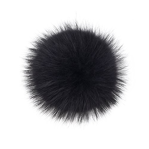 Pom Fur Real Pom (Real Raccoon Fox Fur Pompom with Button Big Fur Ball for Beanies DIY Fur Accessories)