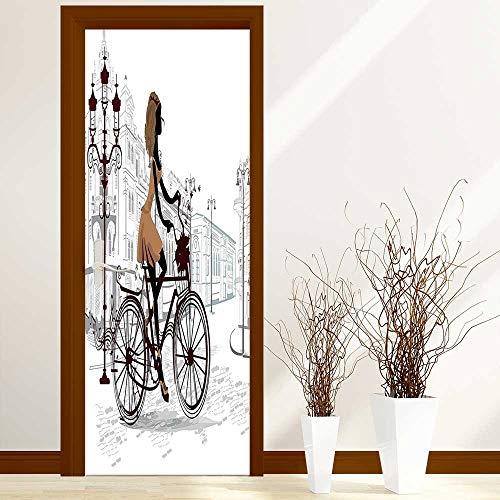 Creative Door Stickers Bedroom Doors Decor Young Girl in Paris Streets with Bike French Display Chestnut and Light Indoor and Outdoor use W23.6 x H78.7 inch
