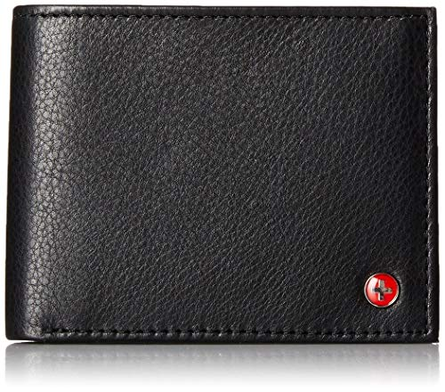 alpine swiss Mens RFID Safe Leather Bifold Pass case Wallet 2-in-1 Card Case, Black, One Size