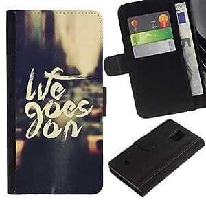 Samsung Galaxy S5 Mini / SM-G800 (Not For S5!!!) Modelo colorido cuero carpeta tirón caso cubierta piel Holster Funda protección - Life Goes On Nyc Cab Text Vignette City