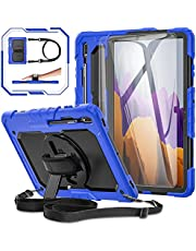 Samsung Galaxy Tab S7 Plus/ S7+ 12.4 Case 2020, [360° Rotatable Hand Strap & Kickstand] BASE MALL Full Body Protective Case with 9H Tempered Glass Screen Protector, Shoulder Strap/S Pen Holder (Blue)