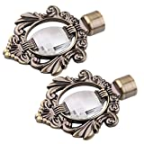 Dovewill Pair 28mm Inner Dia. Drapery Curtain Panel Rod Pole End Caps Curtain Blind Accessories Finials for Window Decoration - Bronze, 143x106mm