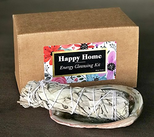 Picki Nicki Happy Home Energy Cleansing Kit - White Sage Stick Bundle for Smudges, Incense with Abalone Shell - incensecentral.us
