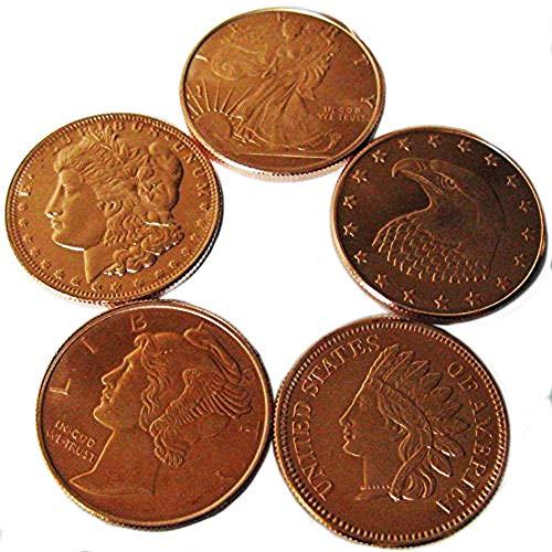 (5x 1 Quarter Ounce Copper Ingots. 5 Pack of Pure .999 Copper Bullion Coins Uncirculated)