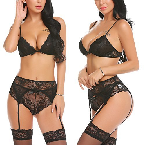ADOME Women Lace Lingerie Set with Garter Belts Strap Babydoll V Neck Bodysuit,Style 1-black,Large