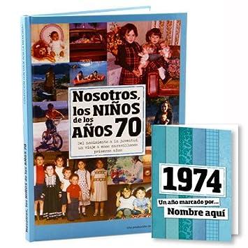 Calledelregalo Regalo Personalizado: Libro de la década de los 70 con Tarjeta Personalizada - Regalo para cumpleaños - Otras Edades Disponibles