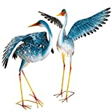 Bits and Pieces - Set of Two (2) Solar Powered LED Light-up Blue Cranes Garden Statues - Metal Cranes Perfect Garden Décor - Metal Garden Art, Outdoor Lawn and Patio Décor