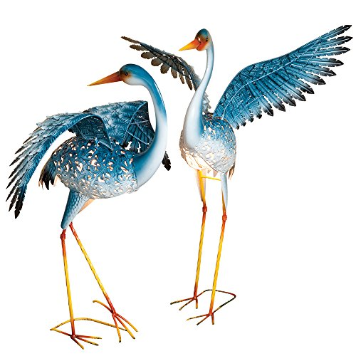 Bits and Pieces - Set of Two (2) Solar Powered LED Light-up Blue Cranes Garden Statues - Metal Cranes Perfect Garden Décor - Metal Garden Art, Outdoor Lawn and Patio Décor (Patio Sculptures)