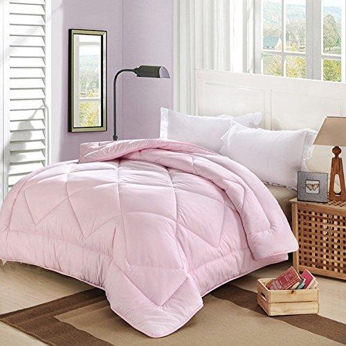 Exttlliy Spring Autumn Lightweight Solid Color Comforter Super Soft Duvet Skin-friendly Quilt with Microfiber Fiber Filled Delicate Stitched (Pink, Twin)