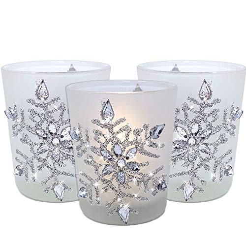 BANBERRY DESIGNS Snowflake Candleholders with Flameless Flickering LED Candles Set of 3 Frosted Glass Glittery Snowflakes with Jewels - 2.75