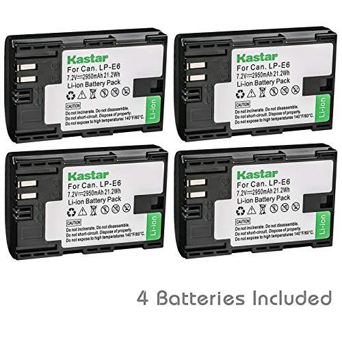 Kastar Battery 4 Pack for Canon LP-E6 LP-E6N, Canon EOS 60D 60Da EOS 70D XC10, EOS 5D Mark II 5D Mark III 5D Mark IV, EOS 5DS 5DS R, EOS 6D 7D Mark II and BG-E14 BG-E13 BG-E11 BG-E9 BG-E7 BG-E6 Grip