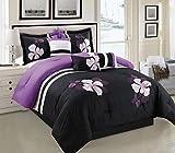 Black and Purple Comforter Sets Queen Purple, Black and White Comforter Set Floral Bed In A Bag Queen Size Bedding