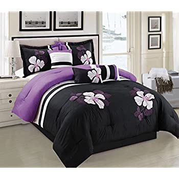purple black and white comforter set floral bed in a bag king size bedding