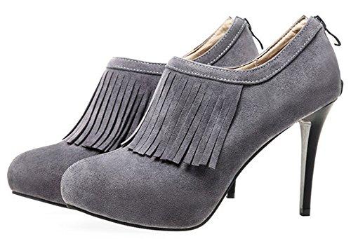 Idifu Kvinners Sexy Tasseled Høye Hæler Stiletto Faux Suede Korte Støvler Booties Med Glidelås Grå