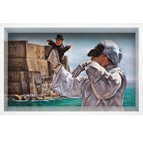"iPrint 3D Depth Illusion White Wood Frame Style Home Decor Art, Vinyl Wall/Floor Decal Sticker,Pulcinella by The Old Castle Classical Traditional,35.4"" x23.6"