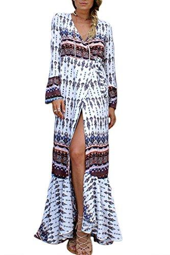 Dress Mujeres Coffee Elegante Wrap V Maxi UPS Neck Boho Beachwear Deep Cover f8fq4w